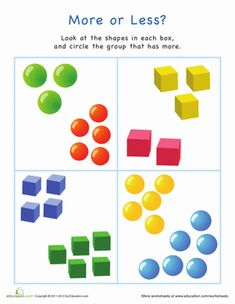 This bright printable asks your child to compare quantities between groups of shapes. Whether he can already count up to ten or is getting ready to learn this colorful page is great practice. Plus it& great for learning shapes! Shape Worksheets For Preschool, Math Workbook, Shapes Worksheets, Kindergarten Math Worksheets, Free Printable Worksheets, Free Preschool, Preschool Printables, Measurement Worksheets, Preschool Phonics