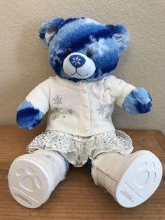 1725419001d Build A Bear Blue Snowflake Bear Stuffed Snow Bear Sweater Skirt Shoes BABW   BuildABear