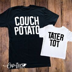 Couch Potato Tater Tot Dad Shirt Toddler Shirt Dad Son Duo Womens Shirts Matching mom baby shirts Matching shirts duo tees - Funny Kids Shirts - Ideas of Funny Kids Shirts - image 0 Dad To Be Shirts, Baby Shirts, Kids Shirts, Funny Shirts, Onesies, Family Shirts, Ladies Shirts, Mom And Baby, Mommy And Me
