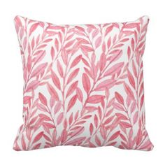Girly Pink Leafy Vines Watercolor Pattern Pillows
