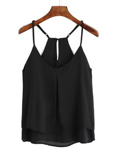 Spaghetti Strap Double Layers Chiffon Cami Top