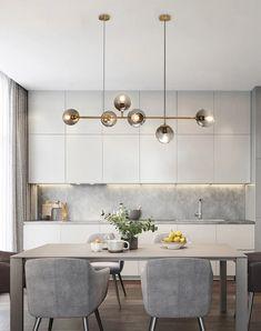 Kitchen Room Design, Modern Kitchen Design, Kitchen Interior, New Kitchen, Kitchen Decor, Art Deco Chandelier, Modern Chandelier, Cuisines Design, Room Decor