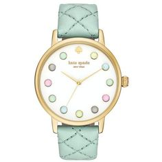 Kate Spade New York Pastel Blue Metro Grand Quilted Mint Green Leather... (350 BRL) ❤ liked on Polyvore featuring jewelry, watches, accessories, bracelets, relogios, pastel blue, rainbow jewelry, pastel jewelry, blue wrist watch and dial watches