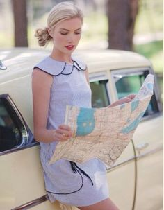 Bill took the wrong road. Now Tina is trying to figure out where they are.they never ask for directions! Rock Vintage, Style Rockabilly, Small Town Girl, Feminine Style, Travel Style, Style Me, Road Trip, Girly, Summer Dresses
