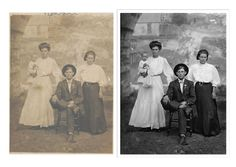 The Photo Restoration Center Before & After Examples. Including fixing faded photos, repairing cracks & tears, replacing missing areas, mold removal & more. Photo Restoration, Painting, Art, Street Graffiti, Doodles, Art Background, Painting Art, Paintings, Kunst