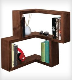 Franklin Shelf - Walnut | Add a little interest to your flat surfaces with this 90-degre... | Shelving