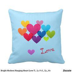 Bright Modern Hanging Heart Love Throw Pillows