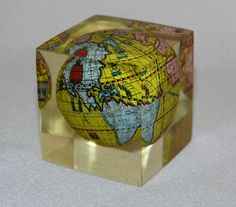 Vintage kitsch 60s paperweight acrylic 2  cube & metal antiquarian World globe