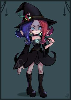 A little octoling witch for Halloween! -Really love that drawing omg <33
