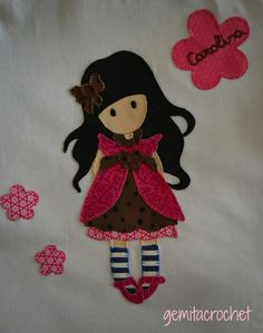 Una gorjuss en rosa para Carolina , a disfrutarla!! Applique Patterns, Applique Quilts, Embroidery Applique, Picture Gifts, Dollhouse Dolls, Amigurumi Doll, Fabric Painting, Holidays And Events, Felt Crafts