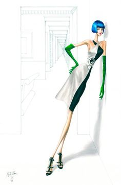 Cosmopolitan Spain - Illustration for Loewe, 2007 Fashion Illustration Tutorial, Fashion Illustration Sketches, Fashion Design Sketches, Illustration Artists, Fashion Designers, Fashion Artwork, Fashion Drawings, Pose, Fashion Figures