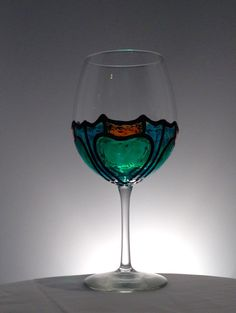 Stained Glass Wine Glass - Clover Design by ItsWineTimeDesigns on Etsy