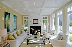 decorated rooms with white sofas | Living room by Meridith Baer with white coffered ceiling, white ...