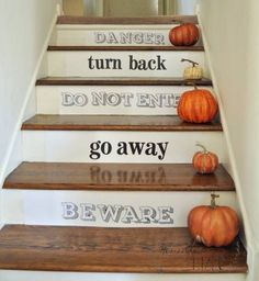Spooky stickers and mini pumpkins adds a great Halloween touch to the staircase or porch steps. Halloween House, Holidays Halloween, Easy Halloween, Halloween Crafts, Halloween Decorations, Halloween Party, Haunted Halloween, Holiday Fun, Holiday Decor