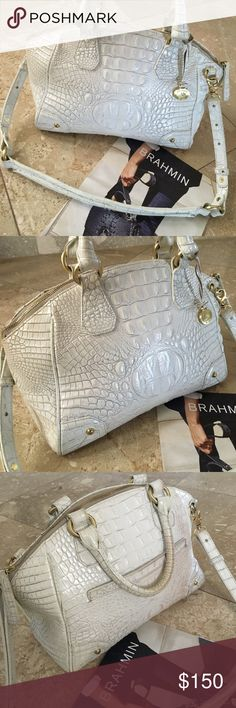 """BRAHMIN CROC EMBOSSED SATCHEL TOTE Excellent condition and very clean!! Pearl white with gold hardware. Removable shoulder strap. Numerous pockets inside of a mark-free interior. 15"""" long and 9"""" tall. Thanks 💤‼️💤 Brahmin Bags Satchels"""