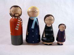 Family of 5 Custom Wood Peg Play Dolls or Ornaments. $75.00, via Etsy.