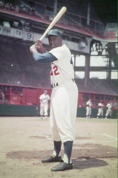 Rare color shot of Jackie Robinson at Ebbets Field, 1951.