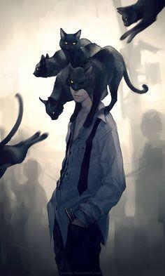 Beautiful modern day reinterpretation of Edgar Allan Poe's The Black Cat by Yuumei.