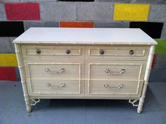 FAUX BAMBOO Double Dresser 8047. Chalk paint and refinish. Great bones.