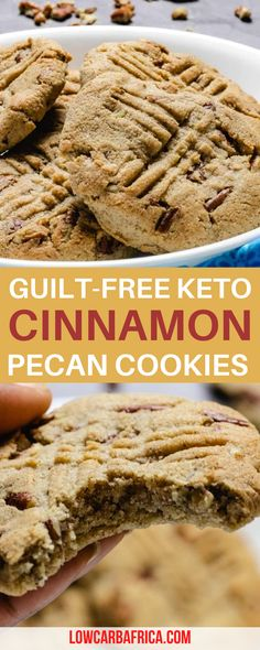 Guilt-Free Cinnamon Pecan Cookies! Looking for a dessert you don't have to ruin your diet for? These low carb cinnamon pecan cookies are the perfect guilt-free treat for those nights when you're craving something warm and sweet! Indulge in this delicious low carb cinnamon pecan cookies made with almond flour, pecans, and a touch of cinnamon. Eat guilt-free and satisfy your cookie cravings! Homemade Desserts, Low Carb Desserts, Fun Desserts, Low Carb Recipes, Free Recipes, Pecan Cookies, Keto Cookies, Holiday Cookie Recipes, Best Dessert Recipes