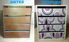 Cómo decorar un mueble con papel pintado paso a paso.