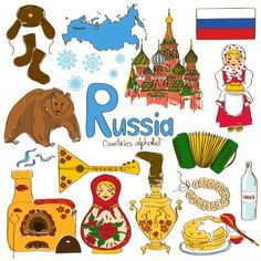 Illustration of Fun colorful sketch collection of Russia icons, countries alphabet vector art, clipart and stock vectors. Russia Culture, World Geography, Geography Kids, International Day, Cultural Diversity, World Cultures, Around The World Theme, World Thinking Day, Social Studies