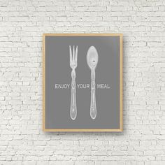 Enjoy your meal Bon appétit Gris et blanc Noir et par MamzelleJules