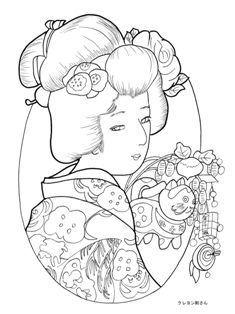福笹を持つ美人の塗り絵の下絵、画像  -  pdf print on website
