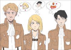 Shingeki no Kyojin - Auruo, Levi and Petra its funny how Levi doesn't care for Petra the same way