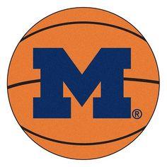 "Michigan Wolverines Basketball Shaped Area Rug Floor Mat - 27"""