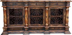 Santa Maria Buffet with hand forged iron door, this sideboard has plenty of room to hide does pretty dishes. it has 3 wrought iron doors and 3 drawers. Tuscan Furniture, Modern Rustic Furniture, Modern Rustic Homes, Rustic Home Design, Rustic Decor, Tuscan Decorating, Decorating Tips, Painted Sideboard, Wood Buffet
