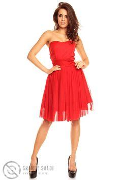 Tiulowa sukienka do kolan