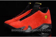 "Air Jordan 14 Retro ""Ferrari"" Challenge Red Suede/Black-Vibrant Yellow For Sale Air Jordan 14, Nike Air Jordan Retro, Jordan Shoes For Kids, Air Jordan Shoes, Cheap Jordans, Kids Jordans, Pumas Shoes, Converse Shoes, Running Shoes On Sale"