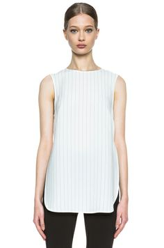 Thakoon Crewneck Acetate-Blend Tank in Ivory