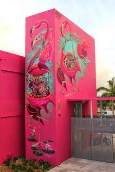 Nychos pinta murales en Art Basel 2014, Miami