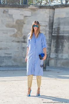 #streetstyle #shirtdress #stripes #pfw image by StunningStreetstyle