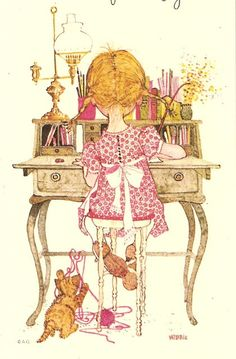 Holly Hobbie--writing a card of encouragement to someone is a worthwhile investment of time - still have it decoupage to a red board for hanging Sarah Key, Holly Hobbie, Papier Kind, Pocket Letter, Hobby Horse, Retro, Vintage Cards, Vintage Children, Cute Art
