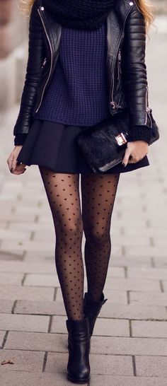 Edgy leather jacket and ankle boots with a cozy sweater and uber feminine swiss dot tights and mini skirt