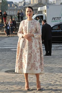 that dress/coat is a bit amazing. #UlyanaSergeenko in Paris.