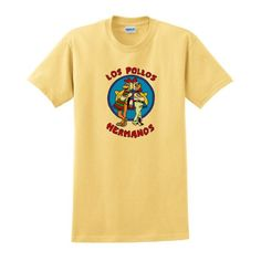 Los Pollos Hermanos Chickn Brothers Short Sleeve Inspired T-shirt Breaking Bad AMC TV show tee Full Color Small Yellow