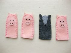 2 Little Pig Finger Puppets-- I intend to have a large stash of finger puppets in my future classroom. Easiest imaginable plays, and plays always make stories cooler. Summer Camp Crafts, Camping Crafts, Shadow Puppets, Hand Puppets, Crafts To Do, Crafts For Kids, Diy Crafts, Holiday Activities, Toddler Activities