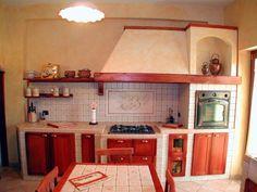 Cucina in muratura in massello finitura ciliegio