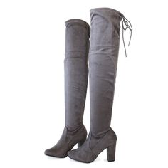 """Del Style : Thigh High Boots Heel Height : 3 1/4"""" Condition : New in Box Main Color : Charcoal Main Material : Man-made Material Fit : Slightly Small to size Size 6 and Size 10 measurements Size 6 Sha"""