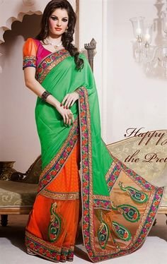 Picture of Plushy Green and Orange Indian Wedding Saree