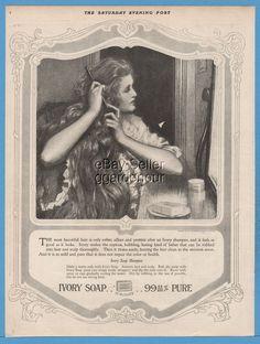 1918 Ivory Soap Beautiful Hair Shampoo Procter Gamble Co P&G Bathroom Laundry Ad
