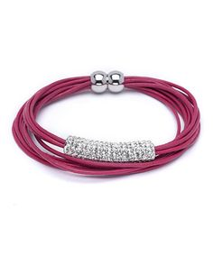 Loving this Fuchsia Leather Layered Bracelet With Swarovski® Crystals on #zulily! #zulilyfinds
