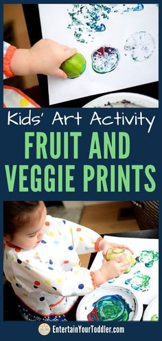Looking for a fun art activity with your toddler? This super fun way to fruits and vegetables to paint with adds a creative spin to the usual arts and crafts activities for kids. Arts And Crafts For Adults, Easy Arts And Crafts, Crafts For Girls, Arts And Crafts Projects, Art Activities For Toddlers, Painting Activities, Craft Activities, Indoor Activities, Reggio