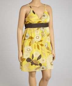 Take a look at the Brown & Yellow Floral Surplice Dress - Plus on #zulily today!