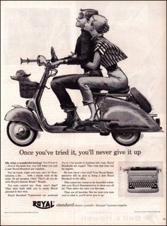 1956 Royal Typewriters Vintage Illustrated Print Ad Boy Girl Poodle Motorscooter | eBay