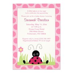 A ladybug baby shower is an adorable theme for spring and the invites don't get any cuter than these Little Ladybug Pink Dot Baby Shower Invitations.  A whimsical ladybug sitting in the grass is the featured image with a border of pink polka dots.  Personalize them with your information.